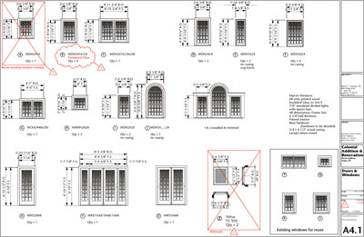 Architectural process construction documents for Schedule of doors and windows sample